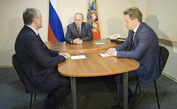 Встреча президента РФ Путина с Аксёновым и Овсянниковым 20 августа, 2016.
