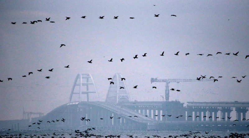 "CRIMEA, RUSSIA - NOVEMBER 26, 2018: Birds flying by Crimean Bridge across the Strait of Kerch. Sergei Malgavko/TASS  –осси€.  ерчь. ¬ид на  рымский мост через  ерченский пролив. —ергей ћальгавко/""ј——"